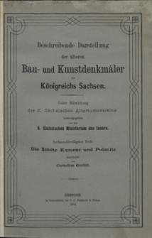 Beschreibende Darstellung der älteren Bau- und Kunstdenkmäler des Königreichs Sachsen. H. 36. Die Städte Kamenz und Pulsnitz