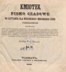 Kmiotek : pismo czasowe do czytania dla wiejskiego i miejskiego ludu przeznaczone, 1850.08.10 nr 32
