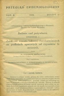 Przegląd Epidemiologiczny, T.2, z.1-3, 1922