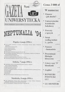 Gazeta Uniwersytecka, 1994, nr 5 (28)