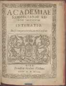 Academiae Samoscianae Recens Institvtæ Intimatio
