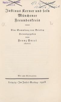 Justinus Kerner und sein Münchener Freundeskreis : eine Sammlung von Briefen