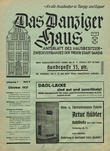 Das Danziger Haus : Amtsblatt des Hausbesitzer-Zweckverbandes der Freien Stadt Danzig, Okt. 1937, H. 2