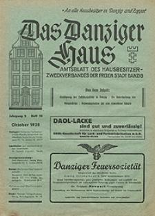 Das Danziger Haus : Amtsblatt des Hausbesitzer-Zweckverbandes der Freien Stadt Danzig, Okt. 1938, H. 10