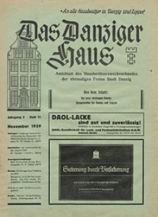 Das Danziger Haus : Amtsblatt des Hausbesitzer-Zweckverbandes der Freien Stadt Danzig, Nov. 1939, H. 11