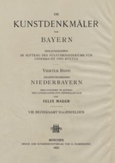 Die Kunstdenkmäler von Niederbayern. H. 8. Bezirksamt Eggenfelden