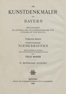 Die Kunstdenkmäler von Niederbayern. H. 9. Bezirksamt Kötzting