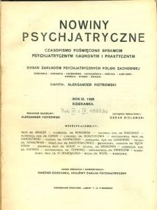 Nowiny Psychjatryczne 1926/27, R.3, z. 1-4