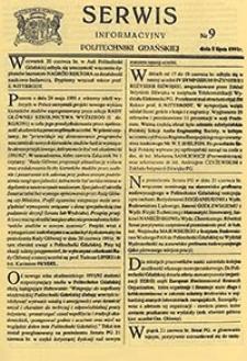Serwis informacyjny Politechniki Gdańskiej, Nr 9, dnia: 5.07.1991
