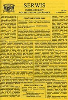 Serwis informacyjny Politechniki Gdańskiej, Nr 124, dnia: 14.02.2007