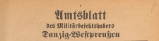 Amtsblatt des Militärbefehlshabers Danzig-Westpressen, 1939.09.18 Nr 1