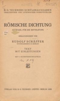 Römische Dichtung : Auswahl für die Mittelstufe : Tekst mit Einleitungen