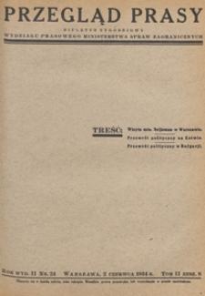 Przegląd Prasy : biuletyn tygodniowy Wydziału Prasowego Ministerstwa Spraw Zagranicznych, 1934 tom 2 zesz. 8