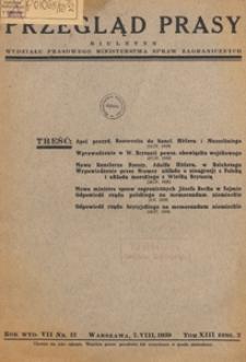 Przegląd Prasy : biuletyn tygodniowy Wydziału Prasowego Ministerstwa Spraw Zagranicznych, 1939 tom 13 zesz. 2