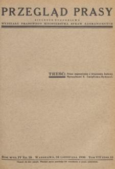 Przegląd Prasy : biuletyn tygodniowy Wydziału Prasowego Ministerstwa Spraw Zagranicznych. 1936 tom 7 zesz. 13