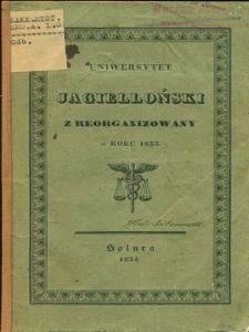 Uniwersytet Jagielloński zreorganizowany w roku 1833