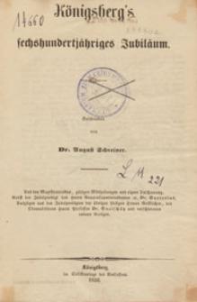 Königsberg's fechshundertjähriges Jubiläum