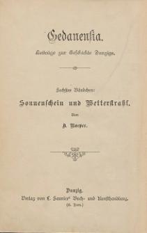 Sonnenschein und Wetterstrahl : Aus Danzigs Sage und Geschichte. Bd. 6