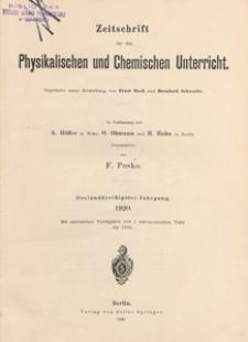 Zeitschrift für den Physikalischen und Chemischen Unterricht, 1920 H 1