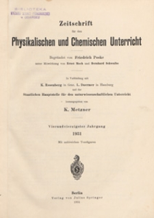 Zeitschrift für den Physikalischen und Chemischen Unterricht, 1931 H 3