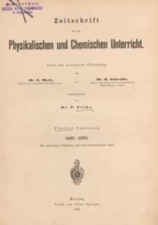 Zeitschrift für den Physikalischen und Chemischen Unterricht, 1891-1892 H 6