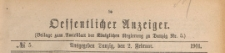 Oeffentlicher Anzeiger : Beilage zum Amts-blatt der Königlichen Regierung zu Danzig, 1901.02.02 nr 5