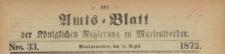 Amts-Blatt der Königlichen Regierung zu Marienwerder für das Jahr, 1872.08.14 nr 33