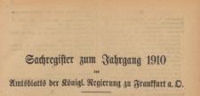 Amts-Blatt der Königlichen Regierung zu Frankfurth an der Oder, 1910, Register