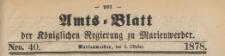 Amts-Blatt der Königlichen Regierung zu Marienwerder für das Jahr, 1878.10.02 nr 40
