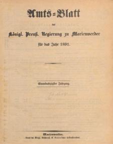 Amts-Blatt der Königlichen Regierung zu Marienwerder für das Jahr, 1891, Inhalts