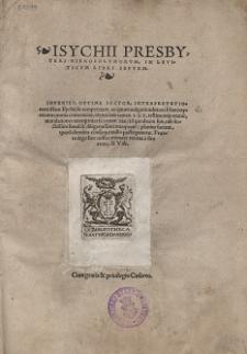 Isychii Presbyteri Hierosolymorvm, In Leviticvm Libri Septem [...]