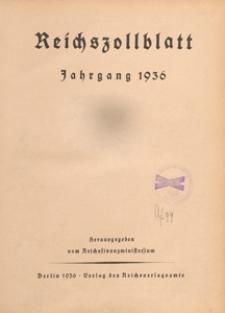 Reichszollblatt. Ausgabe A : herausgegeben vom Reichsfinanzministerium, 1936.12.05 nr 103