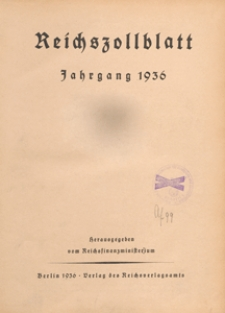 Reichszollblatt. Ausgabe A : herausgegeben vom Reichsfinanzministerium, 1936.06.10 nr 50