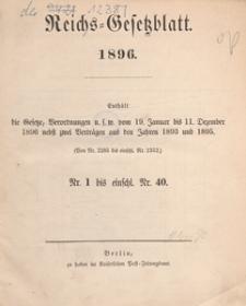 Reichsgesetzblatt : herausgegeben im Reichsministerium des Innern, 1896, nr 2