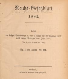 Reichsgesetzblatt : herausgegeben im Reichsministerium des Innern, 1882, nr 14