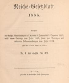 Reichsgesetzblatt : herausgegeben im Reichsministerium des Innern, 1885 nr 2