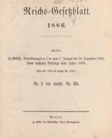 Reichsgesetzblatt : herausgegeben im Reichsministerium des Innern, 1886 nr 15
