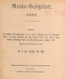Reichsgesetzblatt : herausgegeben im Reichsministerium des Innern, 1881 nr 16