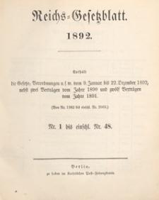Reichsgesetzblatt : herausgegeben im Reichsministerium des Innern, 1892 nr 41