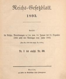 Reichsgesetzblatt : herausgegeben im Reichsministerium des Innern, 1893 nr 2