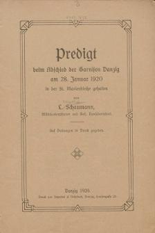 Predigt beim Abschied der Garnison Danzig am 28. Januar 1920 in der St. Marienkirche gehalten