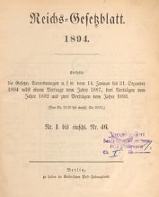 Reichsgesetzblatt : herausgegeben im Reichsministerium des Innern, 1894 nr 19