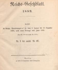Reichsgesetzblatt : herausgegeben im Reichsministerium des Innern, 1889 nr 10