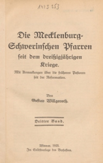 Die Mecklenburg-Schwerinschen Pfarren seit dem dreißigjährigen Kriege : mit Anmerkungen über die früheren Pastoren seit der Reformation. Bd. 3