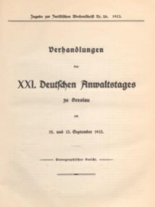 Zugabe zur Juristischen Wochenschrift 1913 nr 20