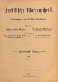 Juristische Wochenschrift : Organ des Deutschen Anwaltvereins, 1919.07.01 nr 8