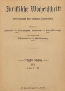 Juristische Wochenschrift : Organ des Deutschen Anwaltvereins, 1931.01.17/24 H. 3/4
