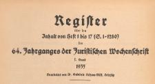 Juristische Wochenschrift : Organ des Deutschen Anwaltvereins, 1935, Register H. 01-17