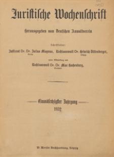 Juristische Wochenschrift : Organ des Deutschen Anwaltvereins, 1932.07.24/31 H. 31