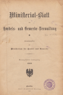 Ministerialblatt der Handels- und Gewerbe-Verwaltung. Herausgegeben Königliches Ministerium für Handel und Gewerbe, 1919.01.20 nr 1